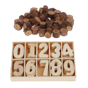 50pcs Rustic Wood Round Log Slices Discs and 60pcs Numbers for Wedding Decor