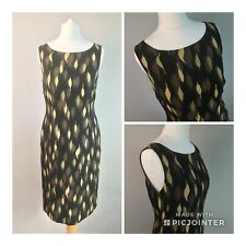 Ladies Precis Petite dress silk autumn leaves bodycon Green Gold