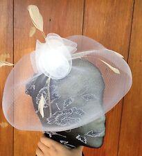 white feather headband fascinator millinery wedding ascot hat hair piece