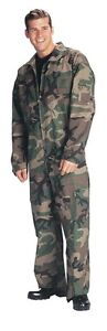 Rothco 7003 Men's Woodland Camo Flight suit -2-Way Front Zipper- 5 Pockets