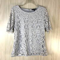 Adrianna Papell Short Sleeved Stretch Lace Top Women's Size L Gray/Silver
