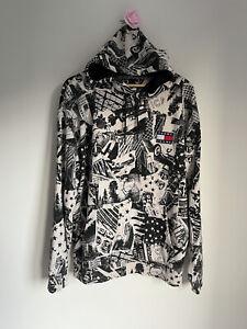 Tommy Hilfiger Mens Hoodie Sweatshirt Size L Black Beige American Logo
