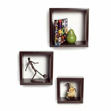 New Wooden Square Shape Wall Shelf Shelves Set Of 3 Multi-Color