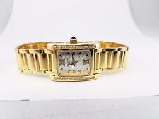 18k Yellow Gold Pierre Balmain Round Diamond Watch Rectangle Face Roman Numerals