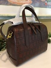 FOSSIL SYDNEY SATCHEL SHOULDER BAG BROWN CROCODILE REPTILE ANIMAL PRINT NEW $178