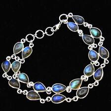 "Lovely Labradorite Gemstone Bracelet 925 Sterling Silver Jewelry 7-7.25"""