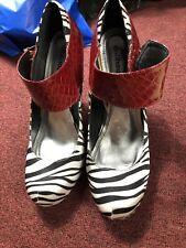 Dollshouse Office Shoes SZ 11 Cebra Print & Red Alligator  5 Inches High Heels