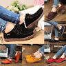 Women's Suede Leather Lace-up Flats Loafer Boat Ladies Moccasin Comfy Shoes /