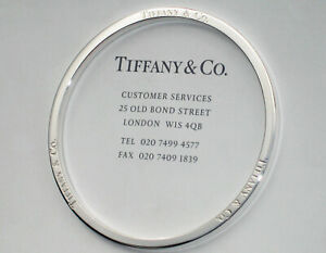 Tiffany & Co Sterling Silver Solid Heavy Bangle Round T&CO Bangle Size MEDIUM