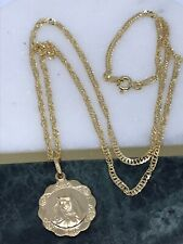 """9ct Yellow Gold Madonna Pendant Chain Necklace 18"""" BRAND NEW"""