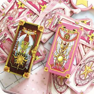 1set Anime Cardcaptor Sakura Clow Card Red Pink Tarot Cards 56 Cards Set