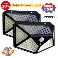 100LED Solar Power PIR Motion Sensor Wall Light Outdoor Garden Lamp Waterproof &