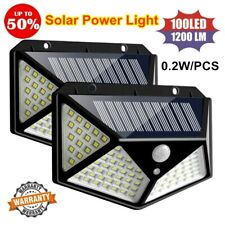 100LED Solar Power PIR Motion Sensor Wall Light Outdoor Garden Lamp Waterproof #