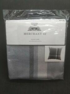 Merchant 41 Plaid Pillow Cover Gray Black Light Gray Zipper 18 x 18 NIP