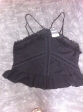 Topshop Top Size 16 New Black Halter Neck Peplum Lace Fringe £26 Party Holiday
