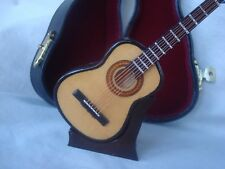 "Miniature GUITAR  Only 4.75"" Long W/Case & Stand Great MUSIC Gift NIB Cute!"