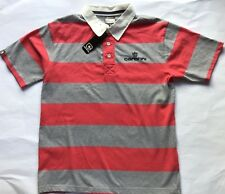 BNWT Boys Carbrini Rugby Shirt Striped in Pink & Grey Size 12-13 Short Sleeves