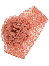 1pcStretch Rose Pink  Lace Flower Infant Headband Baby Hair band Hair Accessory