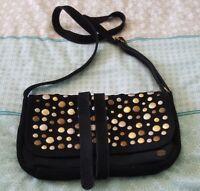 PEPE LONDON Leather Suede Crossbody Boho Black Studded Bag Handbag