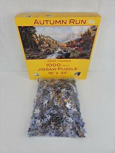 Autumn Run 1000 Piece Puzzle Train Locomotive Railroad Fall Trees Mountain River