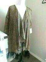 Lularoe Size L Large Boho Print Fringed Monroe Kimono  Jacket NWT