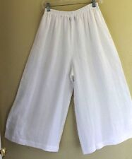 New Eskandar White Linen Art-toWear Lagenlook Flared Culottes Trouser Pants Sz 0