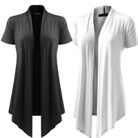 Women's Lady Soft Drape Cardigan Short Sleeve Smock Sun Wear Blouse Tops Clothes