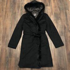 BASLER x LORO PIANA Womens Black Wool Belted Hooded Rabbit Fur Coat US 2 / IT 38