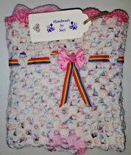 "LOVELY HAND CROCHET BABY DOLL BLANKET:SPOTTED WHITE & MULTI RIBBONED: -18"" x 18"""