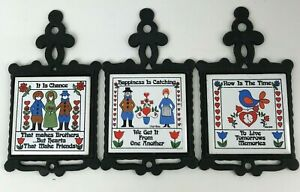 San-Huan cast iron tiles set of 3 on happiness friendship, now moment