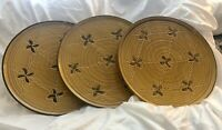 "Abigails Italy Set of Three 12"" Plates with Engraved & Hand Painted Flowers"