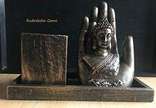 Thai Buddha Hand Bronze Effect Pen Stand Home Decoration Resin Showpiece Decor