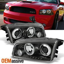 Fits 06-10 Dodge Charger Black Bezel Dual Halo LED Projector Headlights Lamps