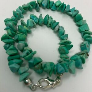 Handmade Anklet Matte Green Dyed Magnesite Stone Chip Beads Silver Tone Clasp 10