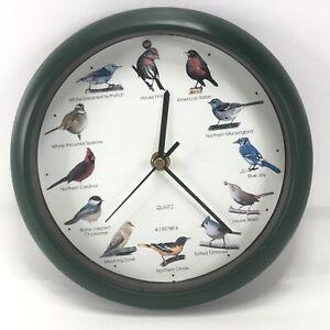 "AUDUBON 8"" SINGING BIRD CLOCK w/ 12 Most Popular North American Song Birds"