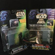Star Wars Darth Vader & Obi Wan Kenobi POTF Figures Electronic Power FX Toys