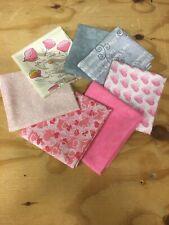7 beautiful Love hearts Pinks Hugs & Kisses fat quarter bundle 1 yd Ribbon lace