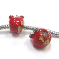 3 Beads - Red Apple A+ Teacher Enamel Silver European Bead Charm E1118