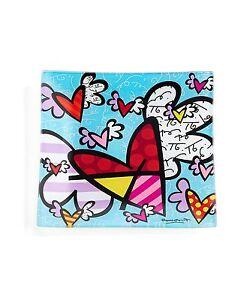 ROMERO BRITTO GLASS PLATE : FLYING HEART ** NEW **