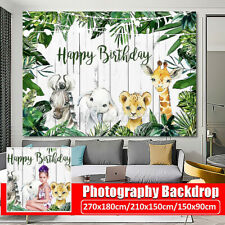 Jungle Green Forest Happy Birthday Background Photography Woodland Party Props