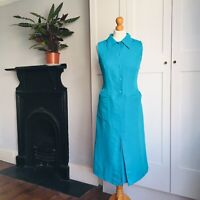 Vintage 90s Turquoise Blue Linen Fitted Sleeveless Shirt Dress Pockets 10