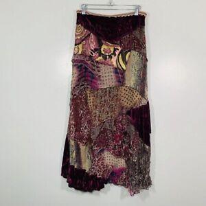 Vintage Y2K CACHÉ Burgundy Floral Silk Patchwork Style Evening Maxi Skirt