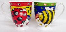 Bees & Ladybirds Mugs Set 2 Fine Bone China Royal Footed Cups Hand Decorated UK