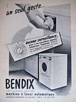 PUBLICITÉ DE PRESSE 1951 MACHINE A LAVER BENDIX AUTOMATIQUE - ADVERTISING