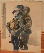 World War 2 German (Nazi) Soldiers Watercolor Painting- 16 x 14 - I. L. Winarsky