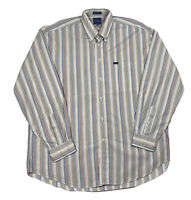 Faconnable Mens Adult 2XL Multicolor Stripe Button Down Long Sleeve Shirt