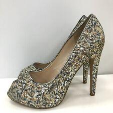 Nine West High Heel Shoes Womens Size UK 9W Silver Gold Glitter Formal 311261