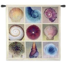 """Shell Collection Contemporary Tapestry Wall Hanging Sea Abstract Collage 52""""x52"""""""
