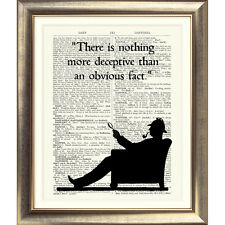 ART PRINT ORIGINAL ANTIQUE BOOK PAGE Vintage Dictionary SHERLOCK HOLMES Quote