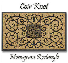 Whitehall Coir Knot Doormat Mat & Personalized Cast Aluminum Monogram Nameplate